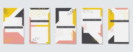 Editable template for Stories and Streams. Geometric elements and brush strokes with colorful spots. Vector illustration