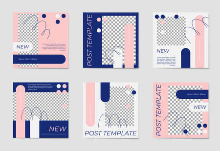 A set of social media post templates. For personal and business accounts. White, blue and rose background with geometric elements. Promotion Brand Fashion. Stories. Streaming