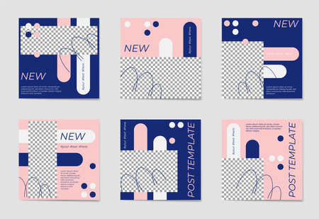 A set of social media post templates. For personal and business accounts. Blue and rose background with geometric elements. Promotion Brand Fashion. Stories. Streaming