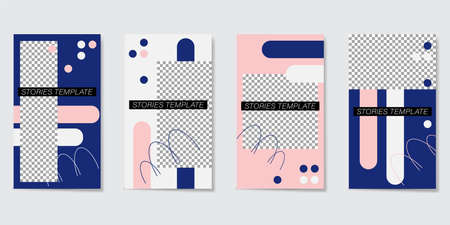 Editable template for Stories and Streams. Blue, pink and white geometric elements. Vector illustration Illustration