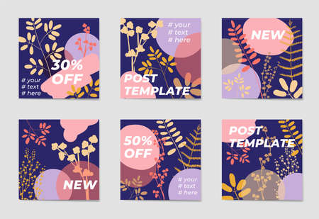 A set of social media post templates. For personal and business accounts. Blue background with geometric elements, drawn plants and a position for photography. Promotion Brand Fashion. Stories. Streaming Illustration