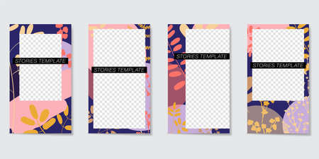 Editable template for Stories and Streams. Frame of geometric elements and painted plants. Vector illustration