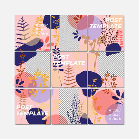 Big trendy editable puzzle template for social media post templates. For personal and business accounts. Pink background with geometric elements, drawn plants and a position for photography. Vector illustration Illustration