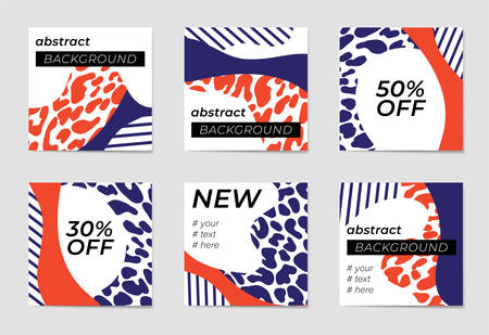 A set of social media post templates. For personal and business accounts.Monochrome leopard prince with abstract shapes and geometric patterns in red, blue and white colors. Promotion Brand Fashion. Stories. Streaming Illustration