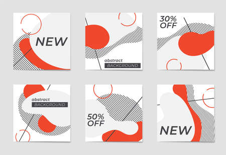 A set of social media post templates. For personal and business accounts.A set of abstract backgrounds with geometric elements and patterns in three colors. Promotion Brand Fashion. Stories. Streaming