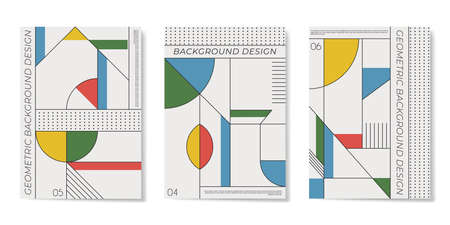 Covers templates set with flat geometric pattern in blue, white, green, yellow and red colors. Applicable for placards, brochures, posters, covers and banners. Vector illustrations.