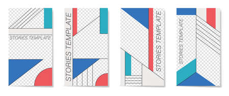 Editable template for Stories and Streams. Flat geometric pattern in blue, white and red colors.