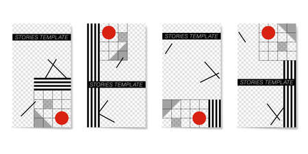 Editable template for Stories and Streams. Flat geometric pattern in white, black, red colors. Illustration