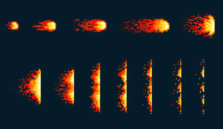 Pixel art fireball. Game icons set. Comic boom flame effects for emotion. Red flames. Animation frame. Process steps, Video fire.