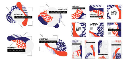 Monochrome leopard prince with abstract shapes and geometric patterns in red, blue and white colors. Иллюстрация