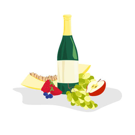 Bright composition of different fruits with a bottle of wine.