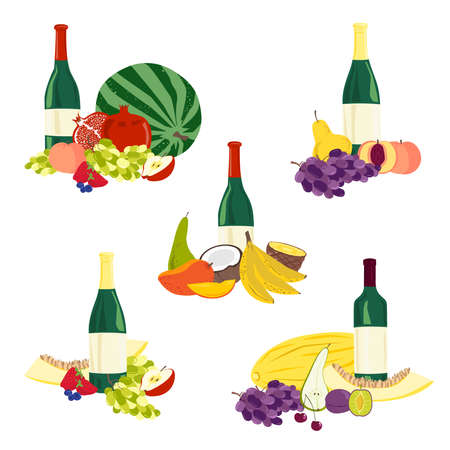 Compositions of fruits and wine. Vector illustration 일러스트