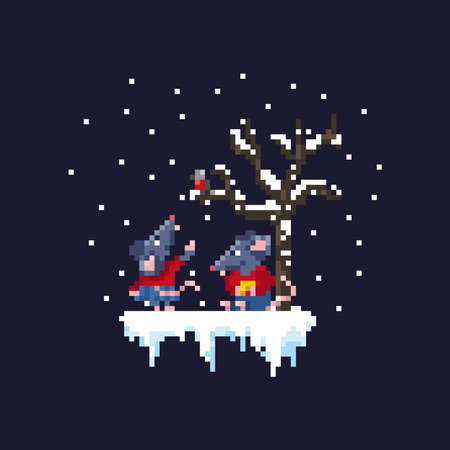 A pair of cute rats are walking under a snowfall near a tree. 向量圖像