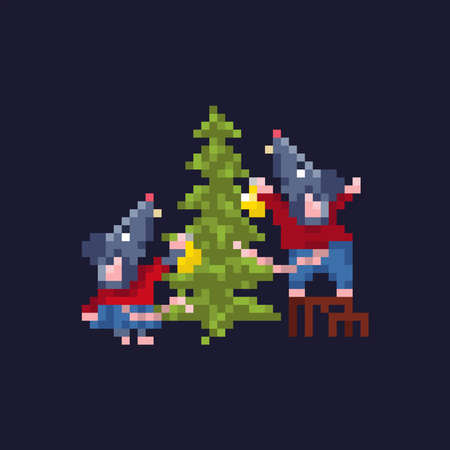 A pair of cute festive rats decorate the Christmas tree with balls.