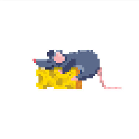 The rat is sleeping sweetly on a piece of cheese.
