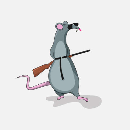 A rat with glasses hides a gun behind his back.