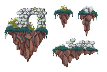 Pixel flying islands. Set of different flying island with ruins, stones and shrubs.