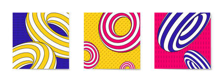 Bright covers templates set with trendy geometric pattern.