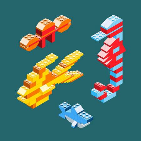 Set of sea animals made of blocks. Isometric constructor. Ilustração Vetorial