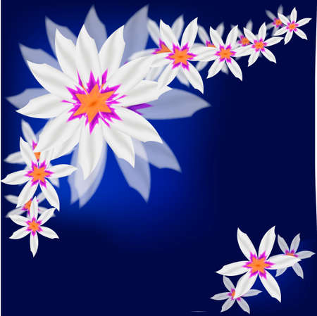 Blue flower background for art projects, pamphlets, brochures Illustration