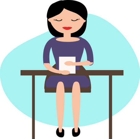 pc: Woman working in office. Illustration