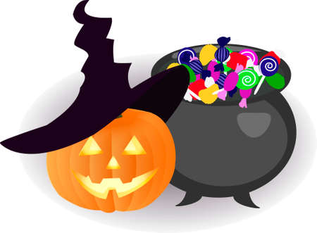 spectre: Pumpkin in a hat and a bowler hat with sweets