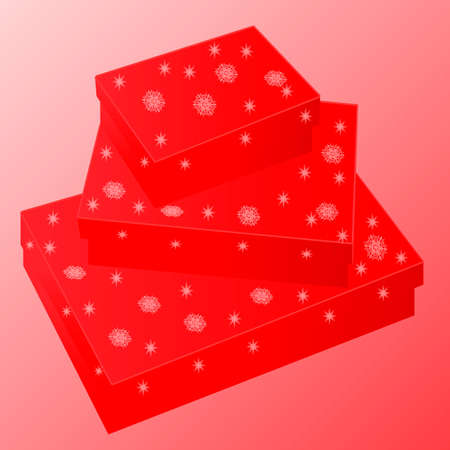 red gift boxes with snowflakes