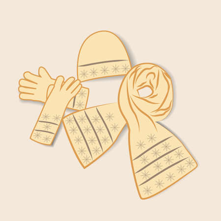 illustration of female gloves scarves on light background