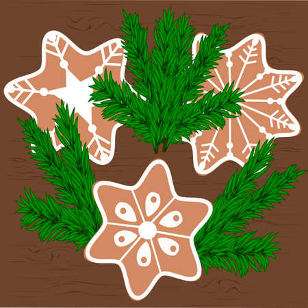 Christmas cookies and Christmas tree branches.