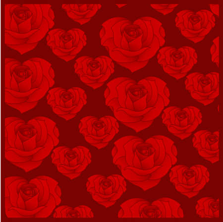 Pattern of roses in the form of hearts on a claret background.