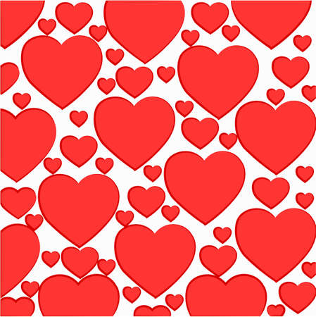 pattern of light red hearts on a white background