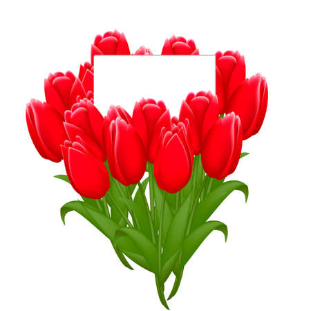 Beautiful bouquet of tulips with a note inside. Greeting card to Women s Day isolated on white background