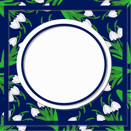 Spring floral abstract background pattern with flowers of snowdrop on dark blue and place for text Vector illustration.