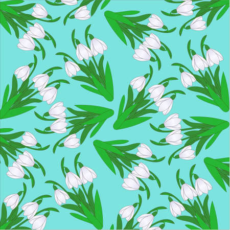 pattern from snowdrops on a turquoise background Illustration