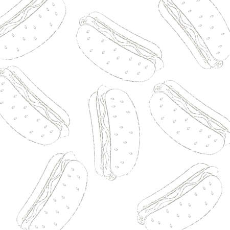Pattern of a hot dog drawn in chalk on a white background