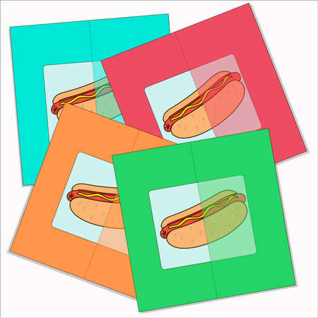 cards with a hot dog on colorful backgrounds scatter.