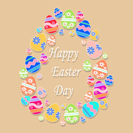 egg from easter eggs with text on beige background. Vector Happy Easter greeting card. Easter Eggs and text Happy Easter Vector Illustration