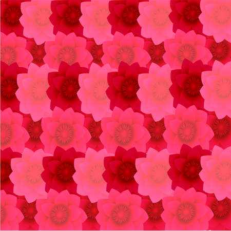 Pattern of flowers from red to light pink color