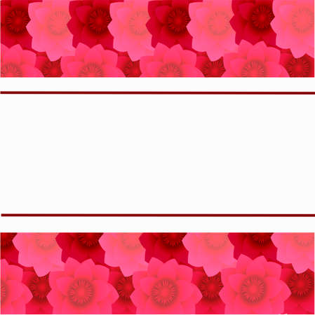 card on a background of flowers from red to light pink color.