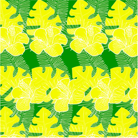 yellow green tropical pattern. exotic yellow flowers