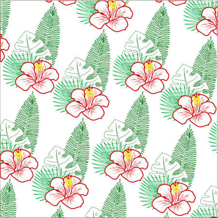 Floral pattern. Background with isolated colorful hand drawn tropical flowers and leaves on white background. Design for invitation, prints and cards. Vector illustration.