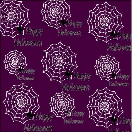 Spider web pattern for your design. Happy Halloween. A pattern of spider webs with spiders. Purple