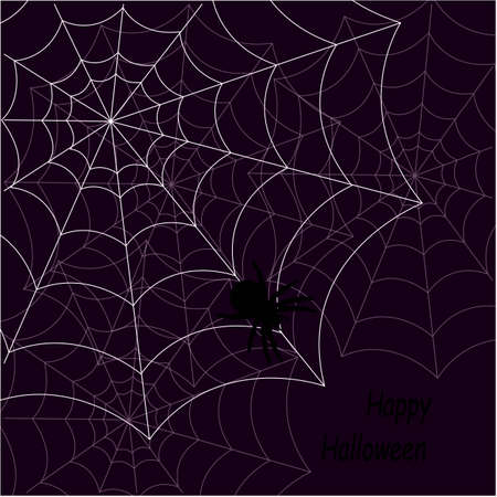 Halloween Illustration Featuring Cobwebs Placed Against a Purple Background Stock Illustratie