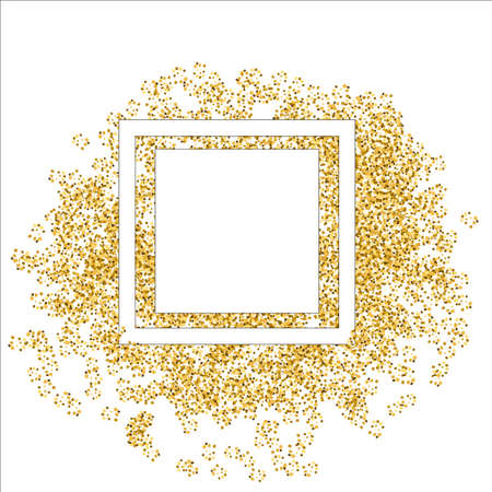 Golden splash or glittering spangles round frame with empty center for text. Golden glittering circle made of tiny uneven round dots on white background.