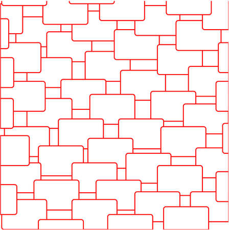 geometric abstract pattern of rectangles with a red frame on a white background