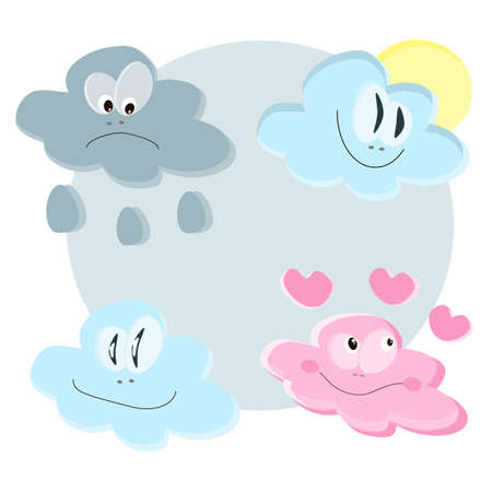 Childrens illustration. Painted clouds expressing various emotions.