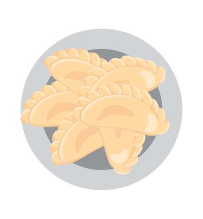 Dumplings on a plate . Ukrainian food. European cuisine. Vector illustration.