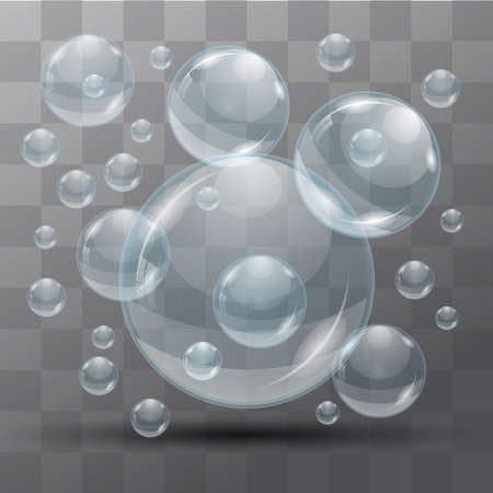 bleb: Transparent water bubbles on a black background. Isolated objects. Vector the background