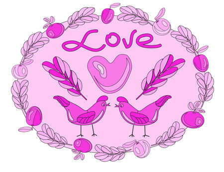 Valentines Day. Lovers birdies. Figure felt-tip pen for your design. Love. Postcard with love. Illustration