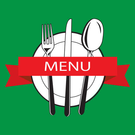 Template menu. Label. menu title. Banner. vector. Cutlery.Flat icon with title